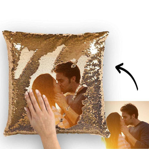 Custom Photo Magic Sequins Pillow Yellow Sequin Cushion 15.75