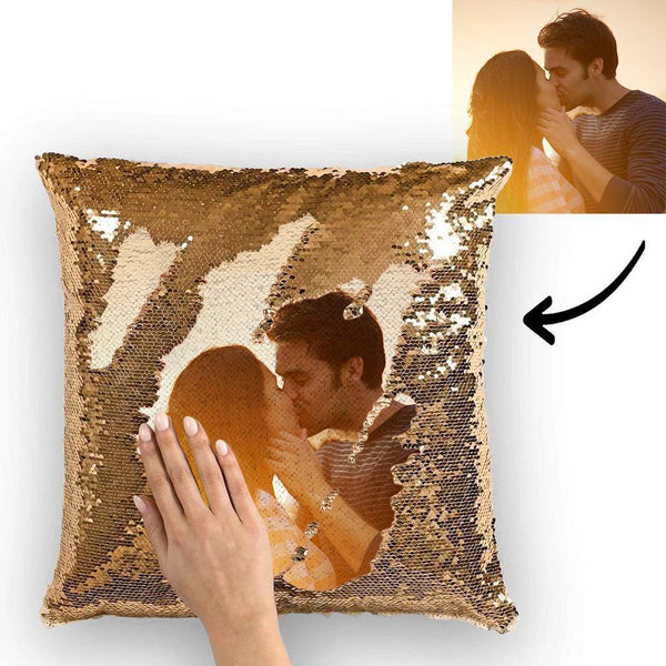 "Custom Photo Reversible Magic Sequin Cushion Pillow for Mom 15.75""*15.75"""
