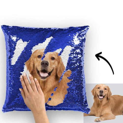 Photo Magic Sequins Pillow Blue Sequin Cushion 15.75