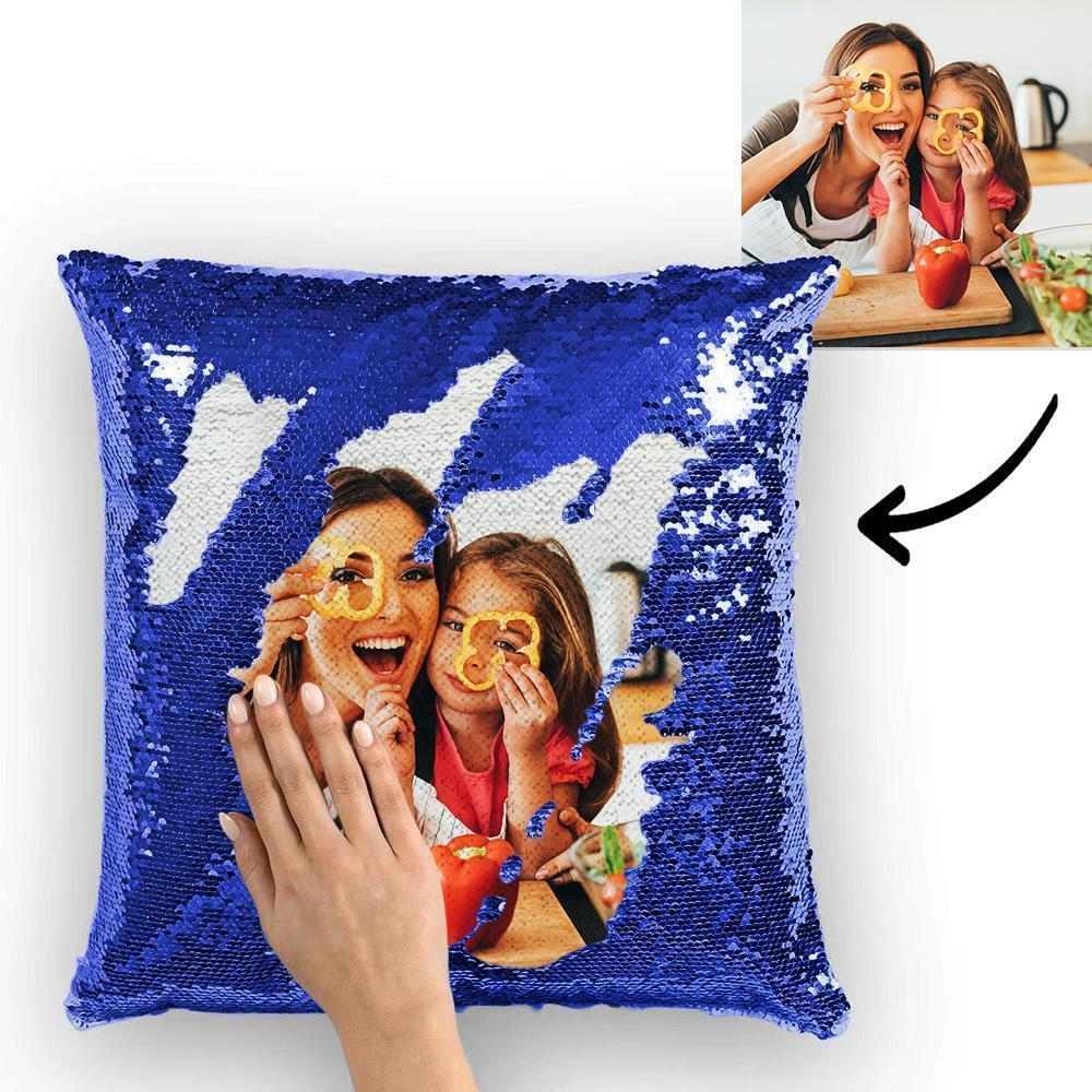 Custom Photo Reversible Magic Sequin Cushion Pillow for Mom 15.75