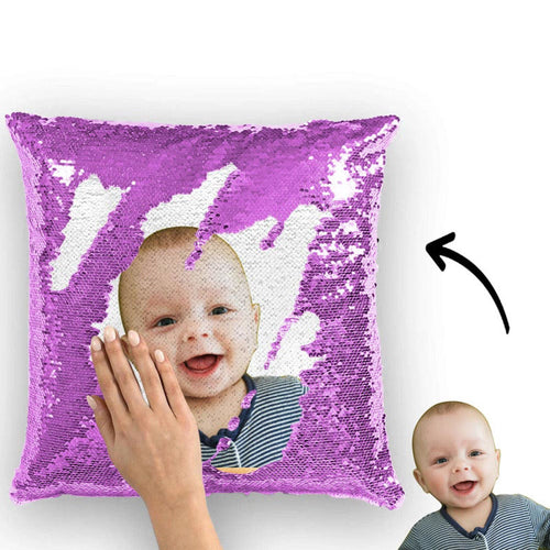 Photo Magic Sequins Pillow Purple Sequin Cushion Cute 15.75