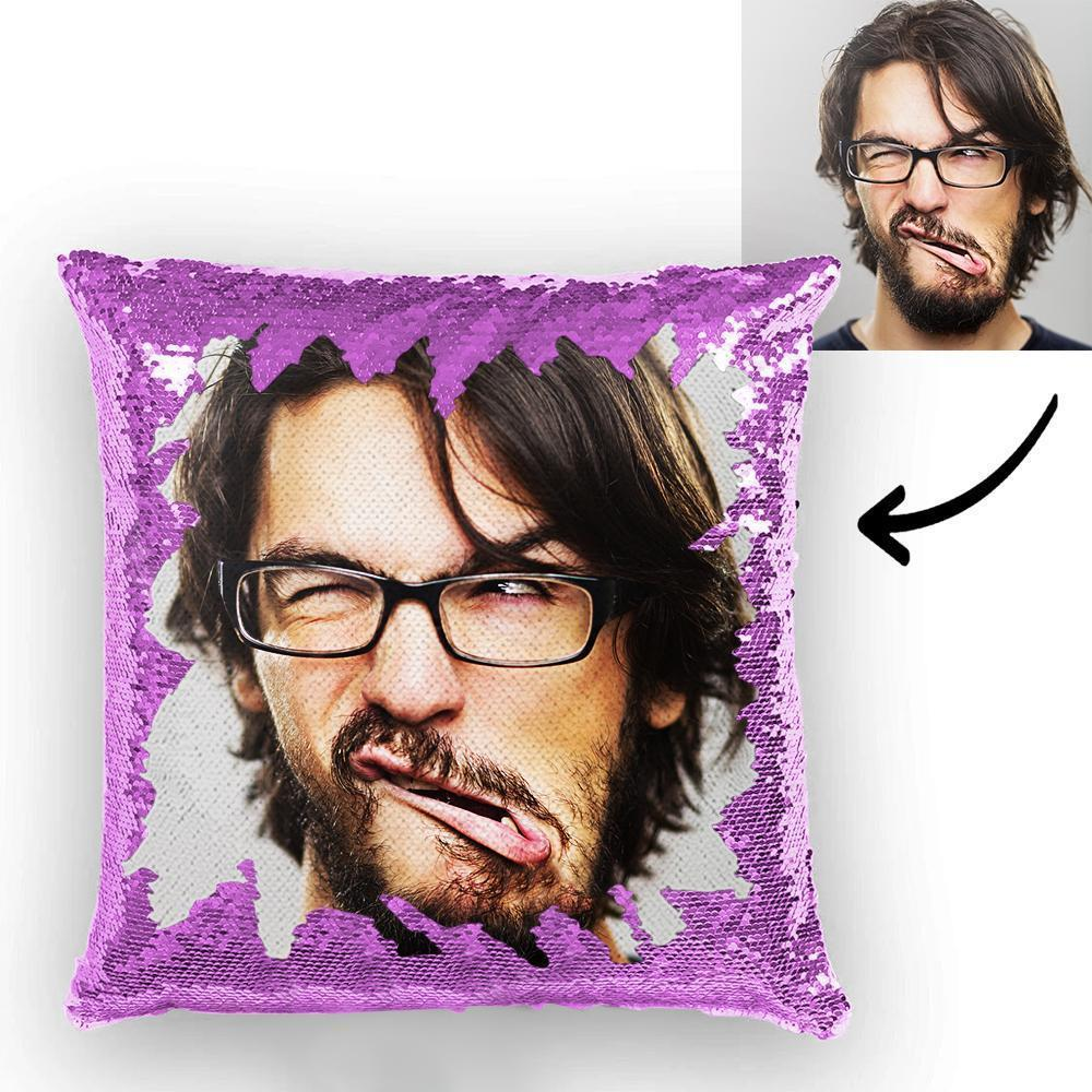 Custom Funny Man Photo Magic Sequins Pillow Multicolor Sequin Cushion 15.75