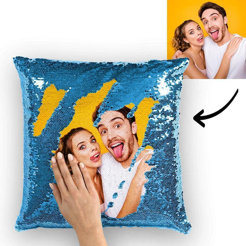 Custom Cute Couple Photo Magic Sequins Pillow Multicolor Sequin Cushion 15.75
