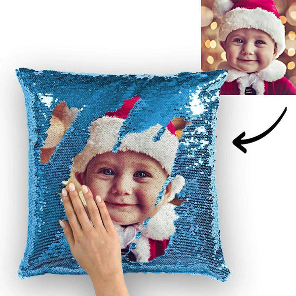"Custom Cute Baby Photo Magic Sequins Pillow Multicolor Sequin Cushion 15.75""*15.75"""