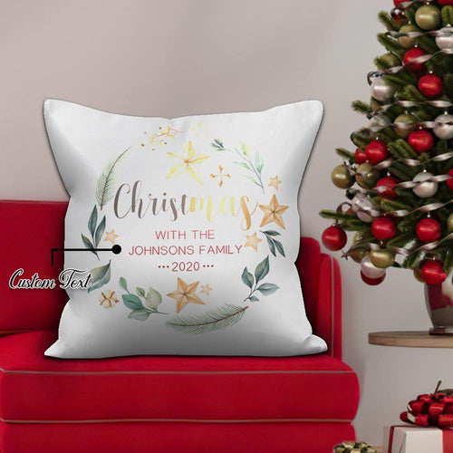Holiday Gifts Custom White Pillow with Text Personalized Festival Decor