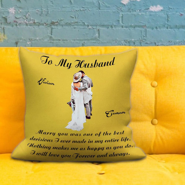 Custom Photo Throw Pillow Personalized Name Couple Cartoons Throw Pillow Valentine's Day Gift