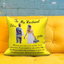 Custom Photo Throw Pillow Personalized Name Couple Cartoons Throw Pillow Anniversary Gift