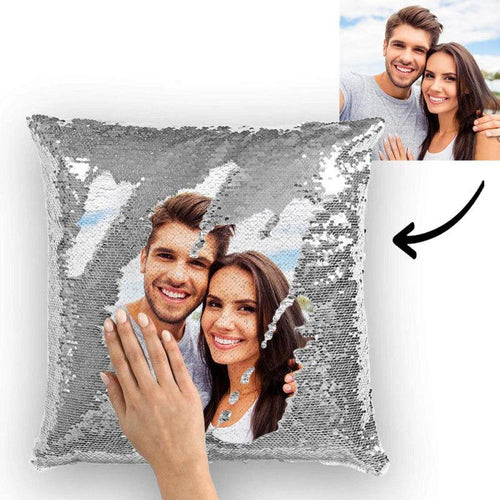 Custom Photo Magic Sequins Pillowcase Silver Color Sequin Cushion 15.75