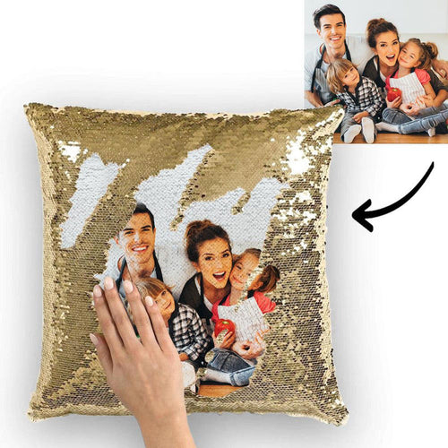 Photo Magic Sequins Pillowcase Golden Color Sequin Cushion Best Gifts 15.75