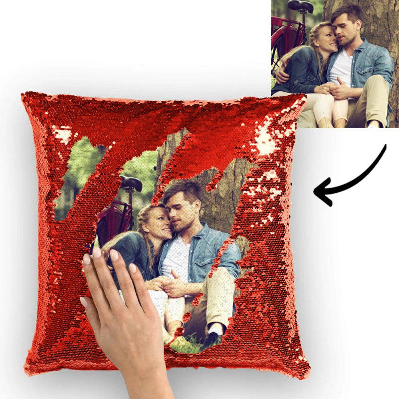 Photo Magic Sequins Pillowcase Red Sequin Cushion Best Gifts 15.75