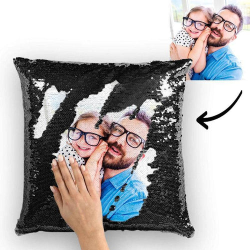 Custom Photo Magic Sequins Pillowcase Black Color Sequin Cushion Unique Gifts 15.75