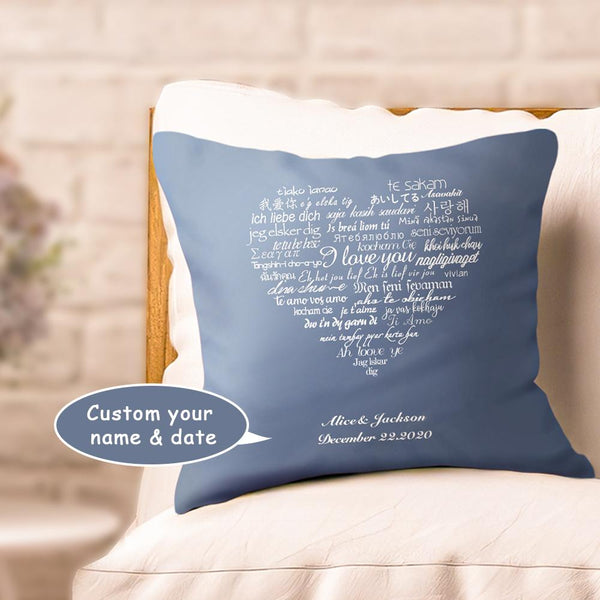 Custom Photo Couple Pillows With Text-I Love You Multiple Languages