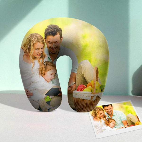 Custom U Pillow Custom Photo Travel Neck Pillow Comfortable U-shaped Pillow - Family Photos