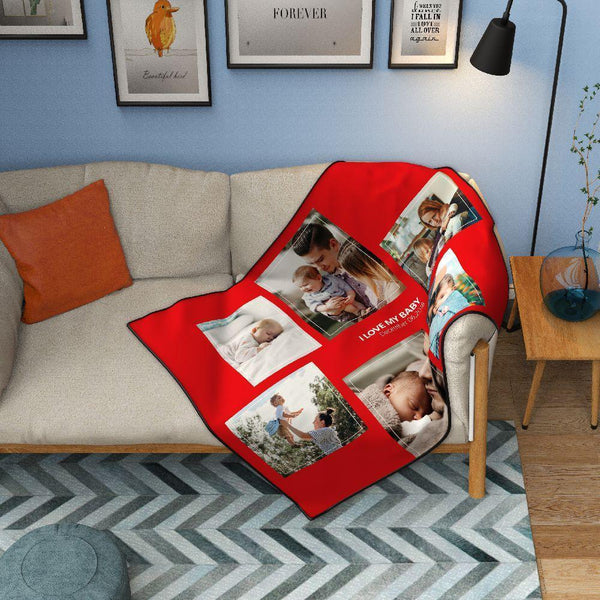 Custom Kids Fleece Photo Blanket with 6 Photos