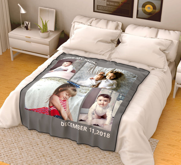 Personalized Kids Fleece Photo Blanket with 4 Photos