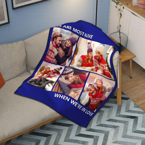 Sweet Lover Personalized 50x60 Fleece Photo Collage Blanket with 5 Photos