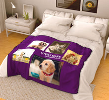 Custom Pets Fleece Photo Blanket with 5 Photos