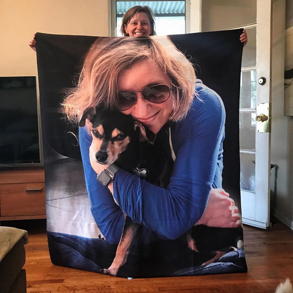 Custom Dog Blankets Personalized Pet Photo Blankets Painted Art Portrait Feelce Throw Blanket