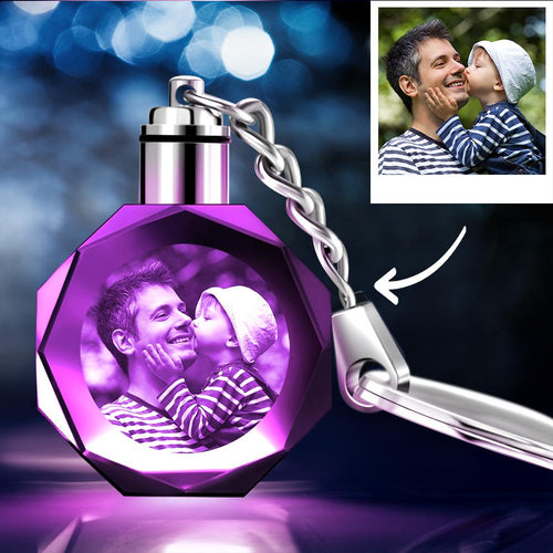 Custom Crystal Octagon Shape Photo Key Chain