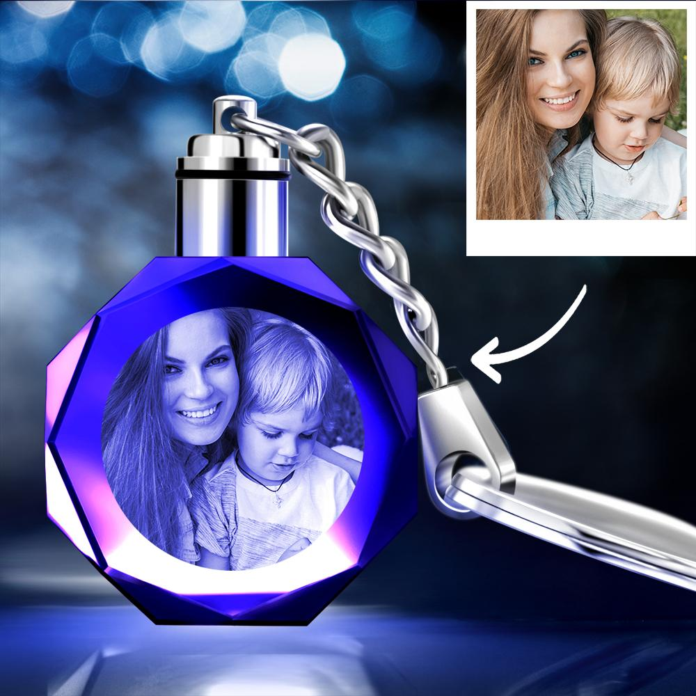 Gifts for Mom Custom Crystal Octagon Shape Photo Key Chain