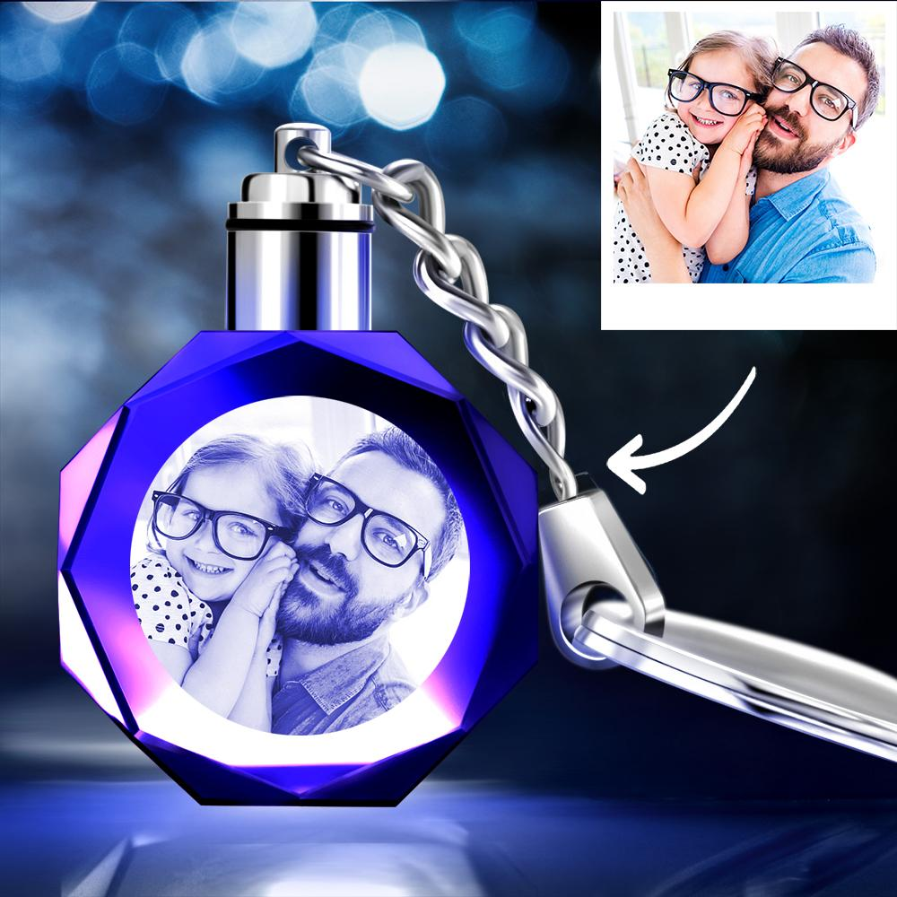 Gifts for Father Custom Crystal Octagon Shape Photo Key Chain