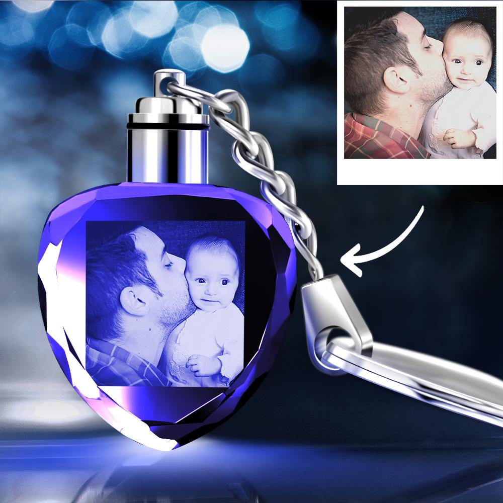 Gifts for Father Custom Crystal Heart Shape Photo Key Chain