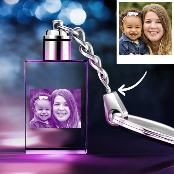 Gifts for Mom Custom Crystal Rectangle Shape Photo Key Chain