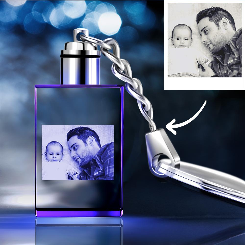 Gifts for Father Custom Crystal Rectangle Shape Photo Key Chain