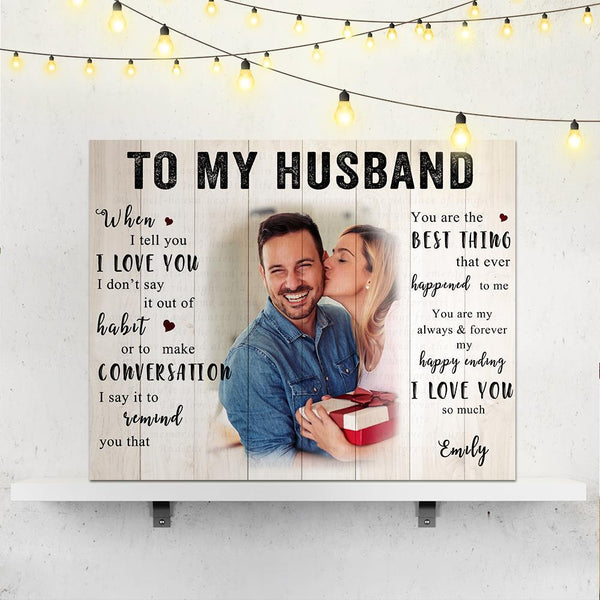 Custom Couple Photo Wall Decor Painting Canvas With Text Anniversary Gift for My Husband