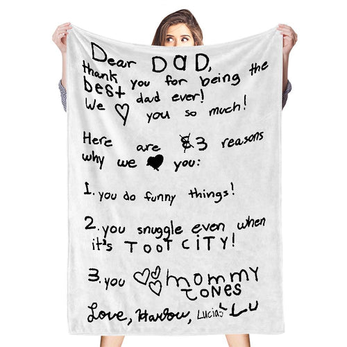 Custom Handwriting Blanket Personalized Handwriting Text Photo Blanket Best Valentine's Day Gift for Couples