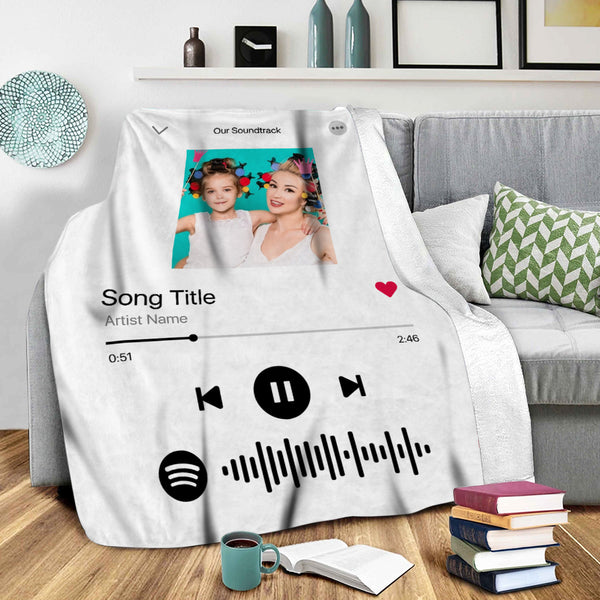 Custom Photo Spotify Code Music Personalized Fleece Blanket Mother's Day Gift for Her