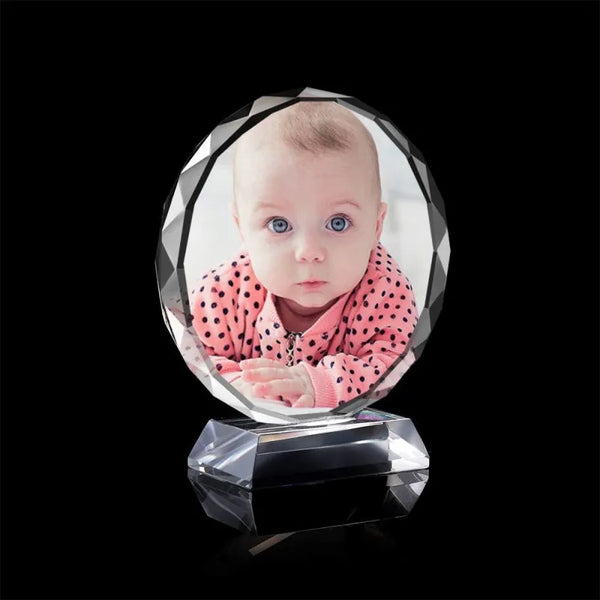 Custom Crystal Photo Frame Round 80mm Cute Baby