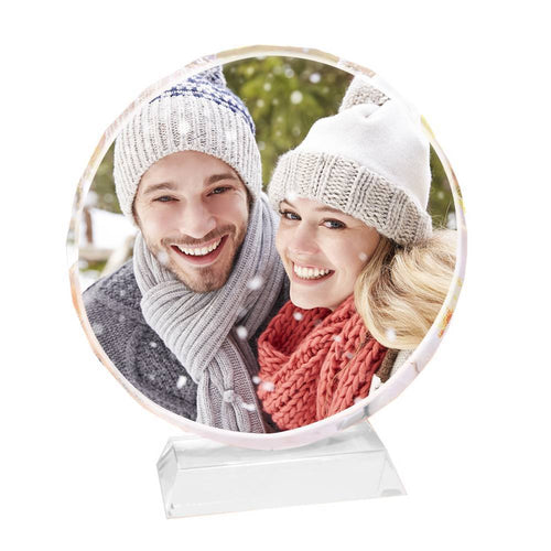 Personalized Crystal Photo Frame Round Keepsake Gift