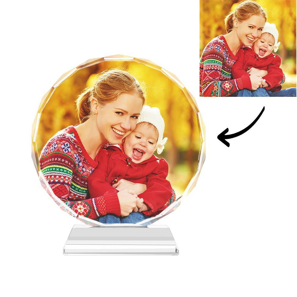 Gifts for Mum Custom Crystal Photo Frame Round Keepsake Gift - 80mm