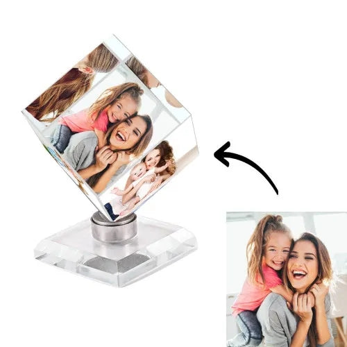 Personalized Crystal Photo Frame Rubik's Cube Keepsake Gift