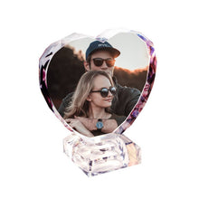 Personalized Crystal Photo Frame Heart-shaped Illuminate Keepsake Gift