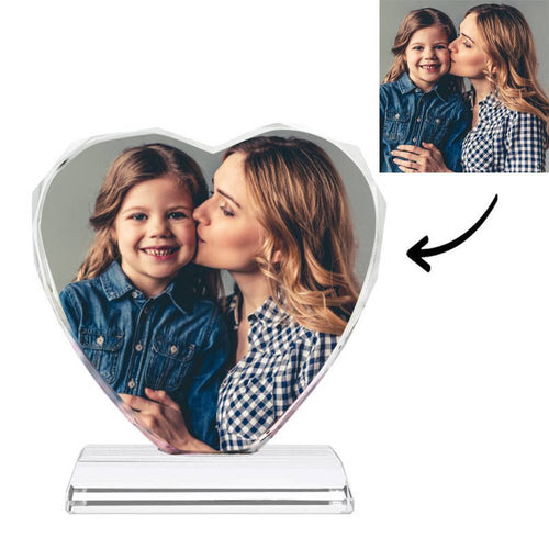 Gifts for Mum Custom Crystal Photo Frame Heart-shaped Illuminate Keepsake Gift