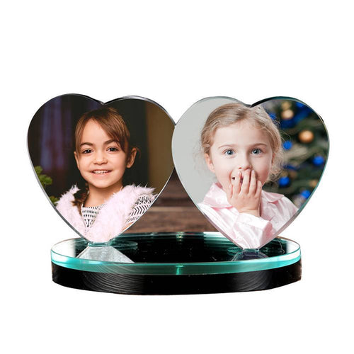 Personalized Crystal Photo Frame Heart-shaped Keepsake Gift