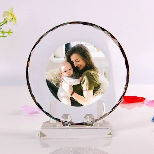 Personalized Crystal Photo Frame Round-shaped Keepsake Gift