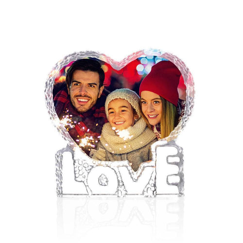 Personalized Crystal Photo Frame Heart-shaped with Love Keepsake Gift