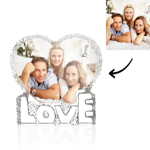 Custom Crystal Photo Frame Heart-Shaped With Love Keepsake Gift 100mm