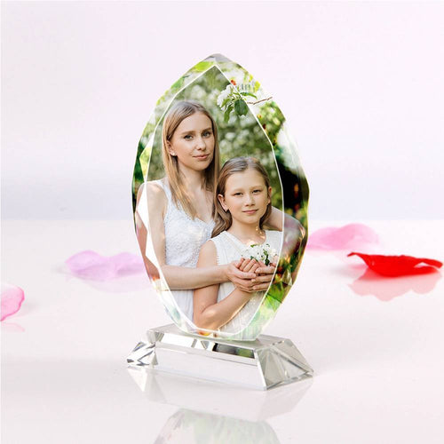 Personalized Crystal Photo Frame Oval-shaped Keepsake Gift