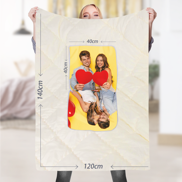 "Custom Mother and Daughter Photo Quillow - Multifuctional Throw Pillow and Quilt 2 in 1 - 47.25""x55.10"""