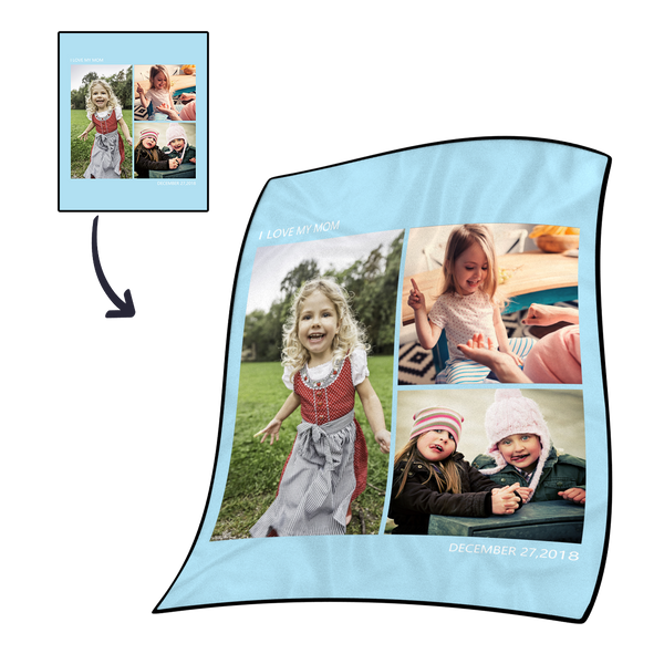 Personalized Kids 40x50 Fleece Photo Blanket with 3 Photos