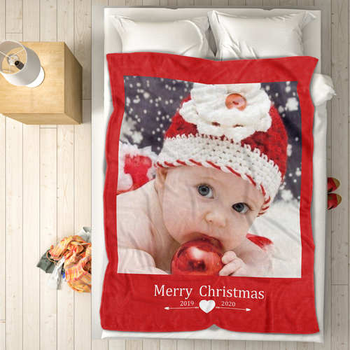 Cute Baby Personalized Fleece Photo Blanket with Text
