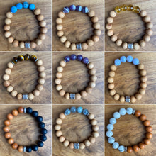 Load image into Gallery viewer, Sandalwood and Blue Banded Agate Bracelet ~ Buy One Get One Free!