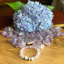 Load image into Gallery viewer, Lavender Amethyst and Aquamarine Bracelet with Sterling Silver Beads