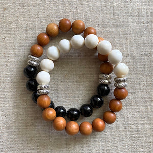 Sandalwood and Tridacna Shell Bracelet with Sterling Silver Beads