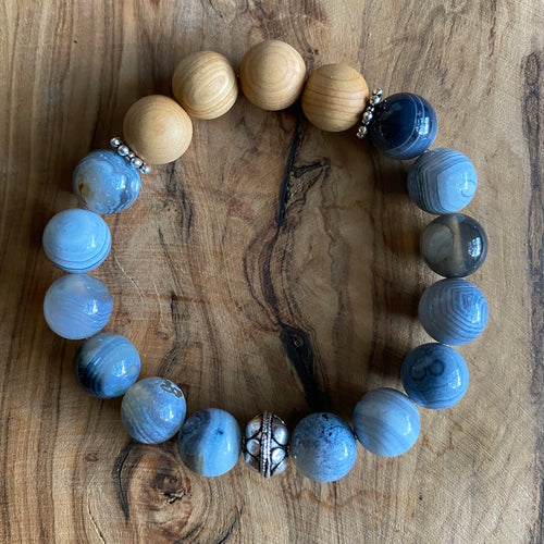 Blue Banded Agate and Sandalwood Bracelet