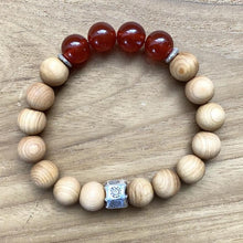 Load image into Gallery viewer, Carnelian and Sandalwood Bracelet